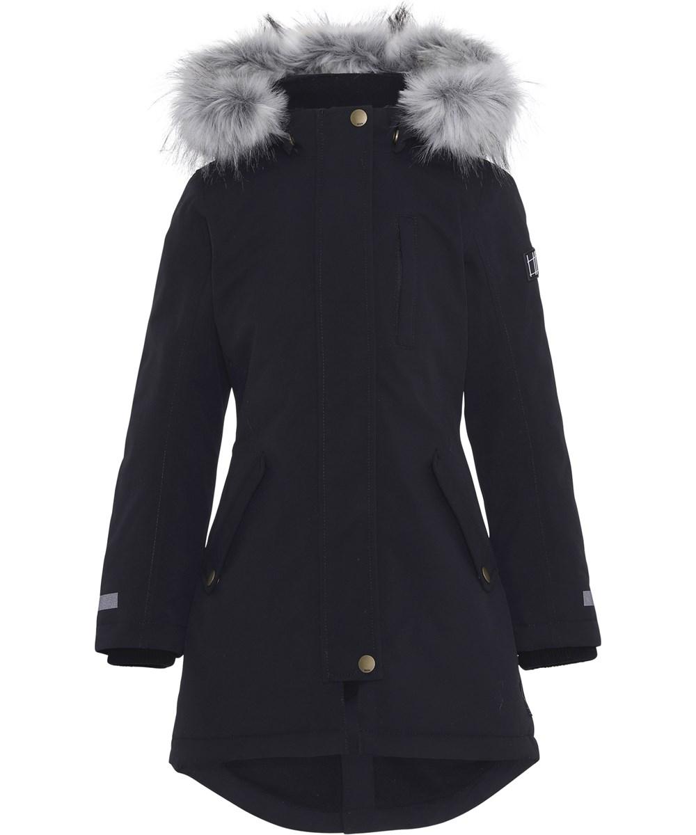 Peace - Black - Sort parka vinterjakke med pels