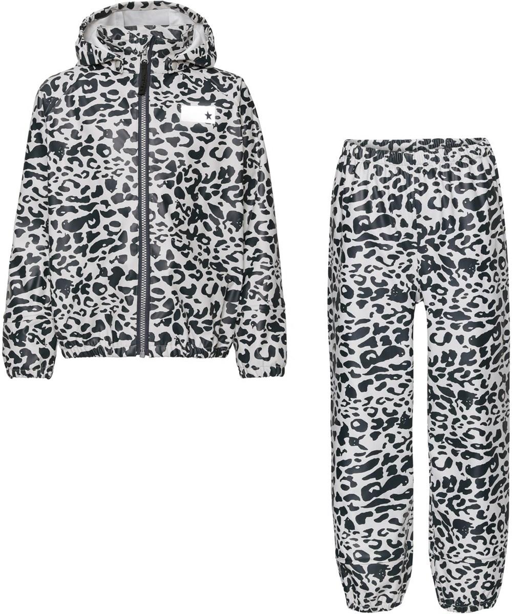 Zet - Leo Blue - Recycled regntøjssæt med leopard print