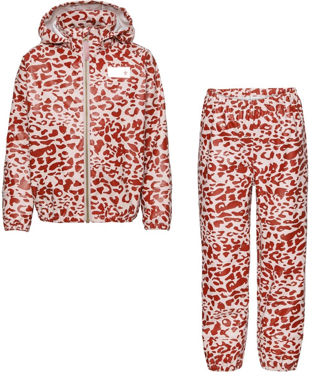 Zet - Leo Red - Recycled regntøjssæt med leopard print