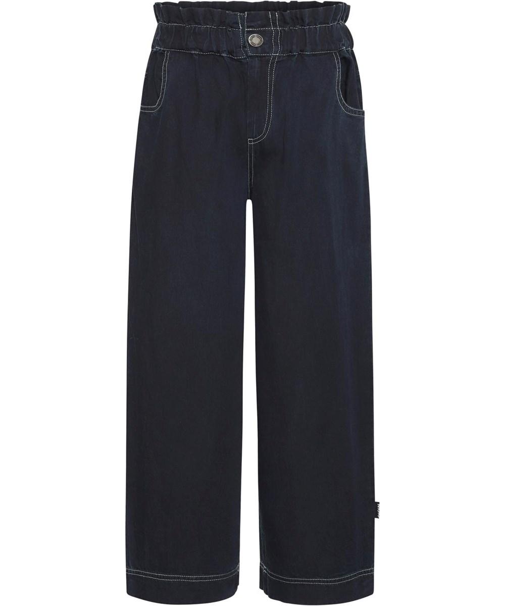 Abbey - Dark Indigo - Økologiske mørkeblå højtaljede bukser