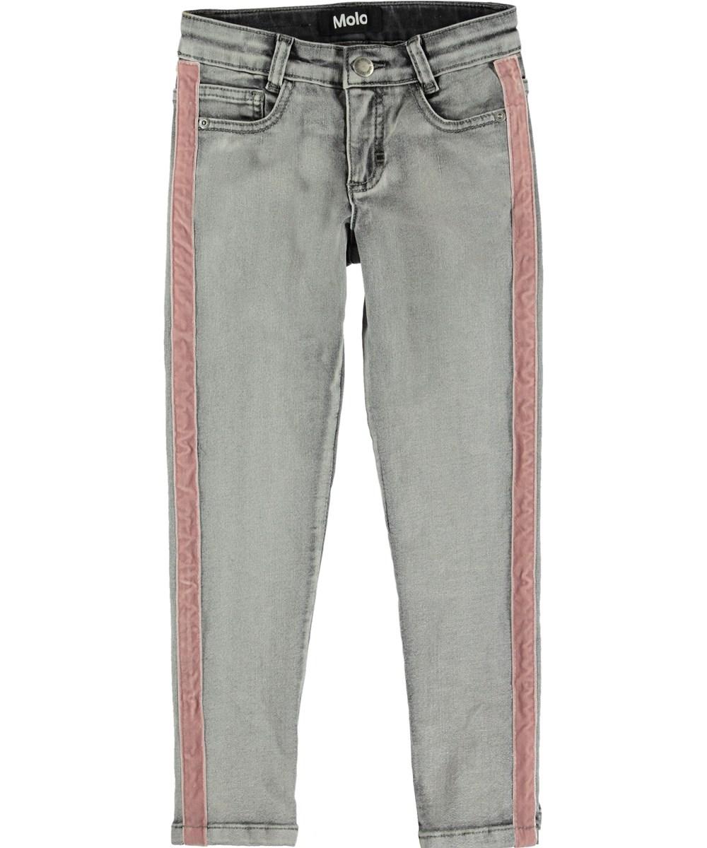 Adele - Grey Washed Denim - Grå jeans med stribe.