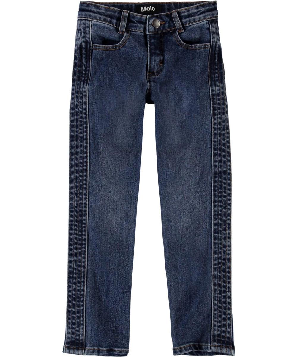 Adele - Mid Blue Wash - Blå jeans med stikninger