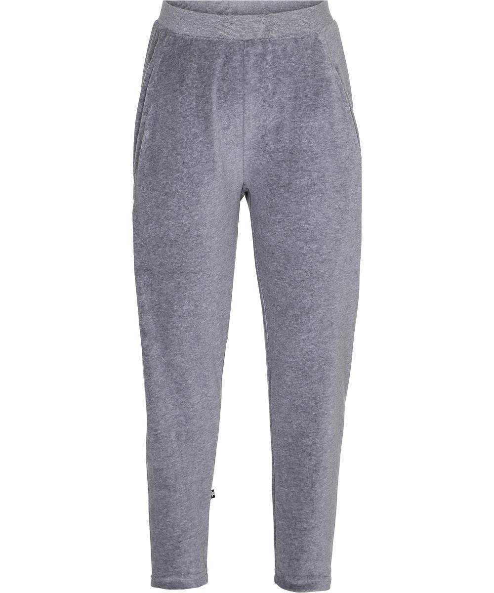 Adelyn - Grey Melange - Løse bukser i grå velour