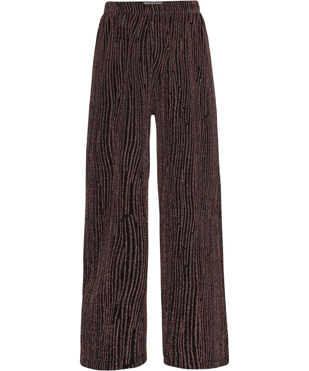 Adoria - Glitter Stripes - Sorte bukser med bronze glimmer