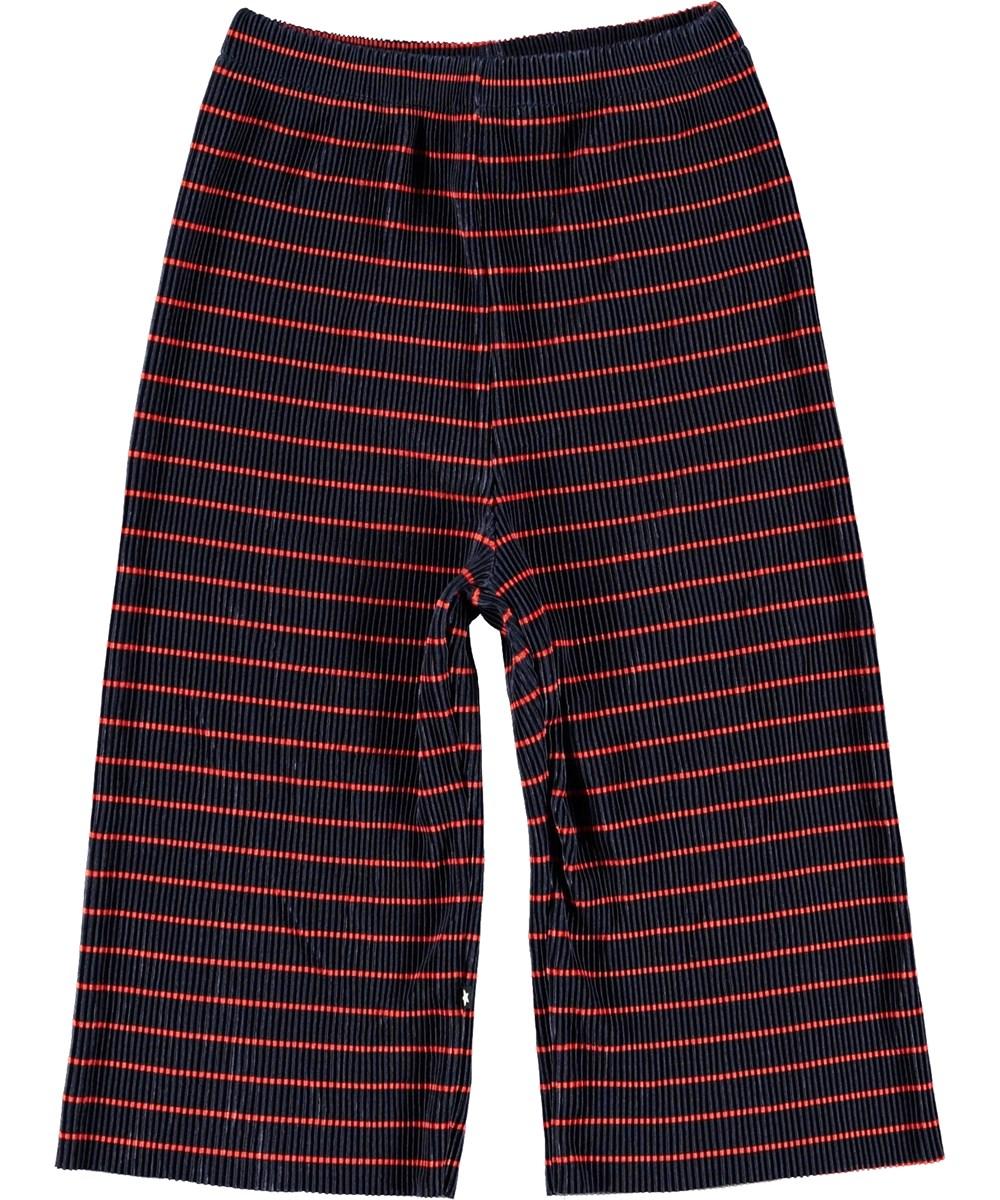 Aliecia - Navy Red Stripe - Culotte bukser med striber.