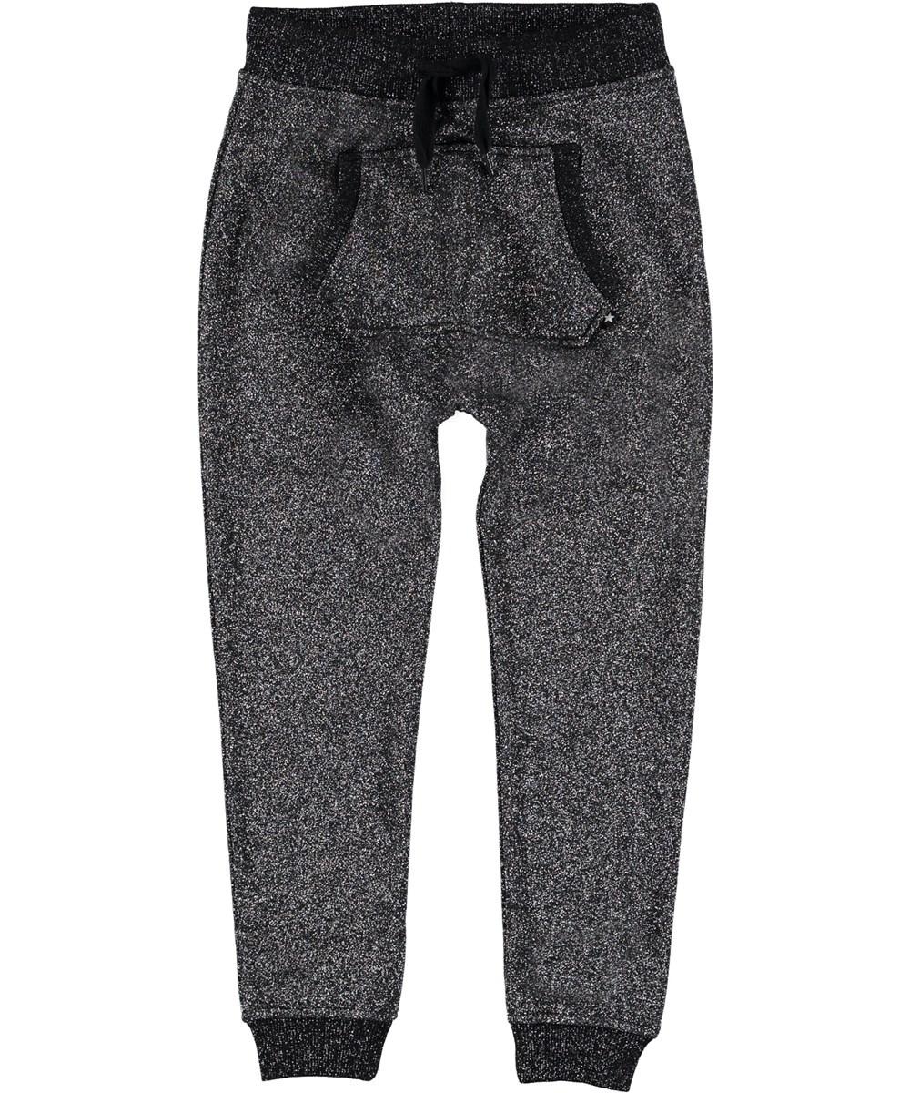 Aliki - Silver Black - Sweatpants glimmer sporty bukser.