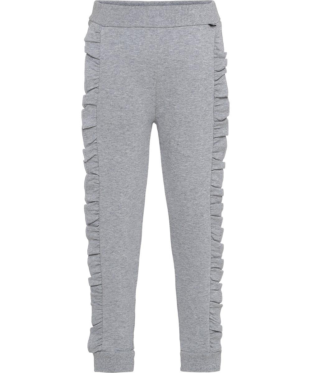 Aline - Grey Melange - Grå bukser med flæsekant.