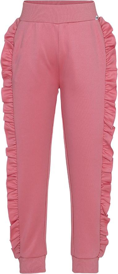 Aline - Tea Rose - Mørk rosa, shiny bukser med flæser