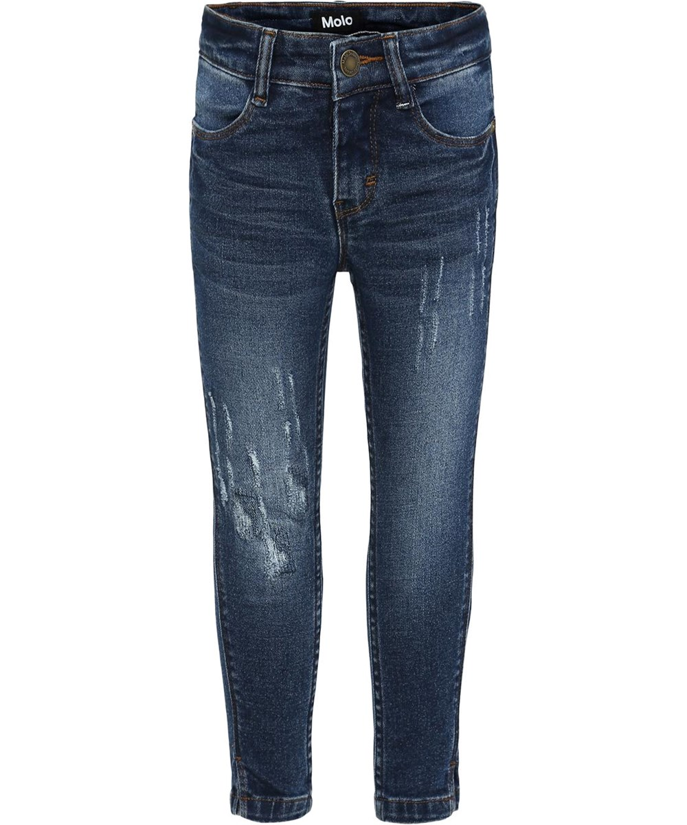 Allison - Washed And Creased - Blå slim jeans med distress.