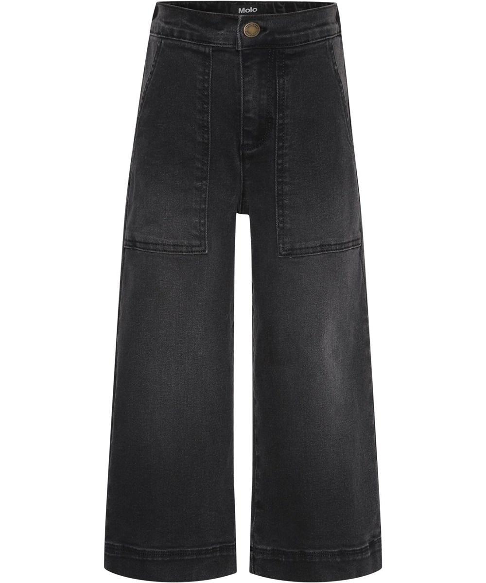 Alyna - Washed Black - Sorte recycled culotte bukser
