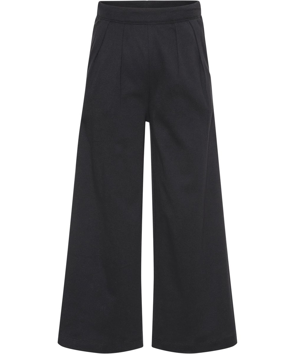 Ana - Black - Økologiske sorte løse brede bukser