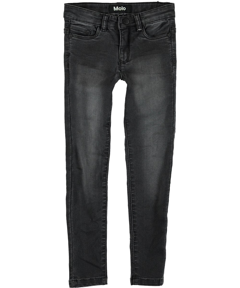 Angelica - Washed Black - Sorte slim jeans.