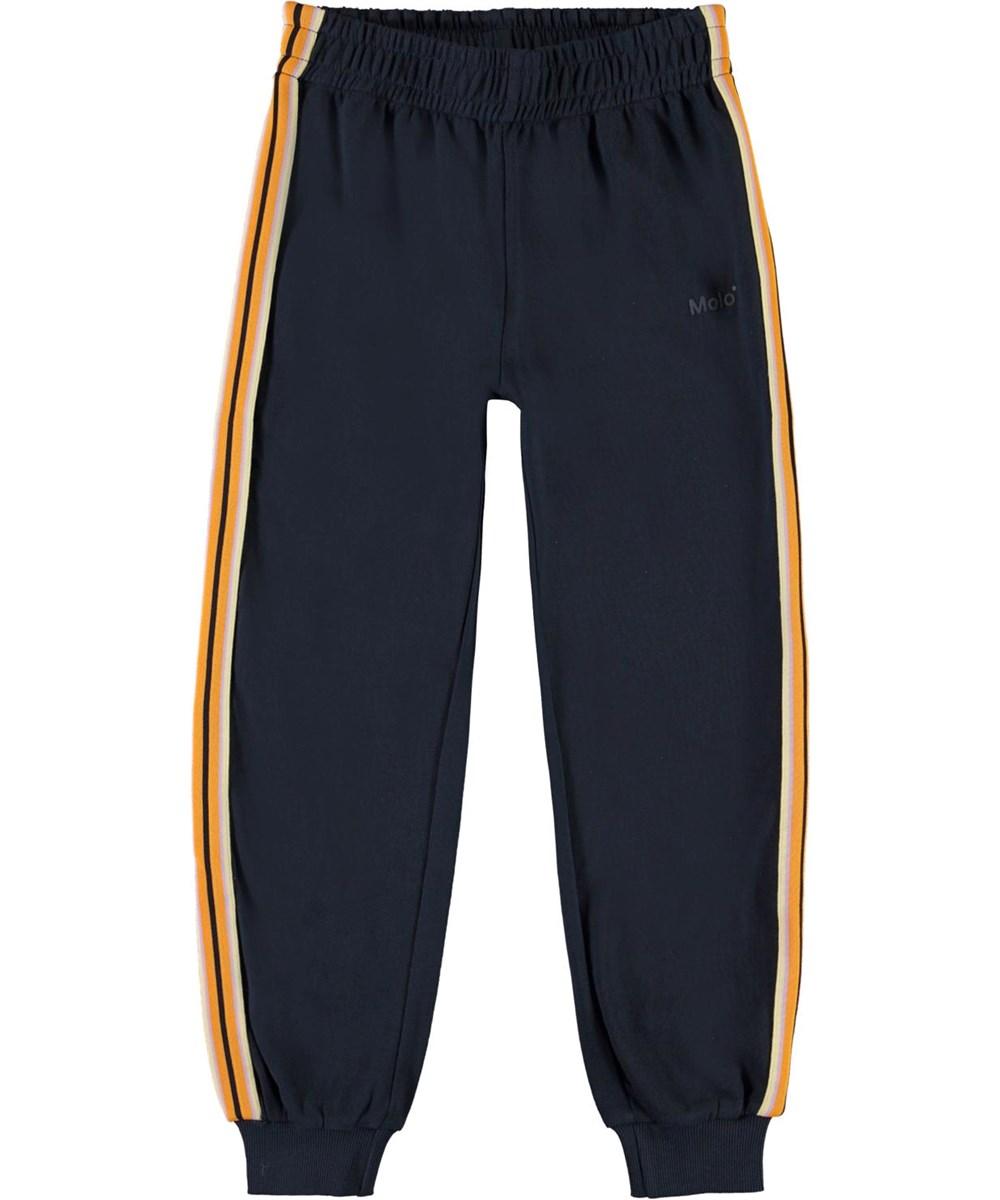 Ava - Total Eclipse - Blå sweatpants med stribet bånd