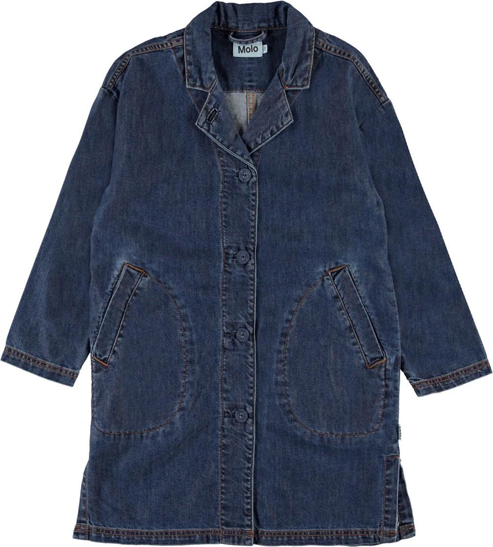 Hana - Washed Indigo - Lang blå denim jakke