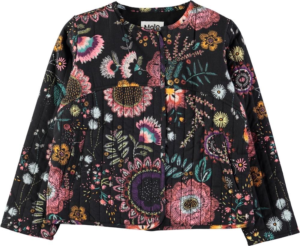 Hasina - Floral Embroidery - Quiltet jakke med print af broderede blomster