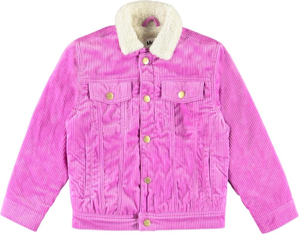 Hen - Acid Purple - Blå denim jakke med plysset for