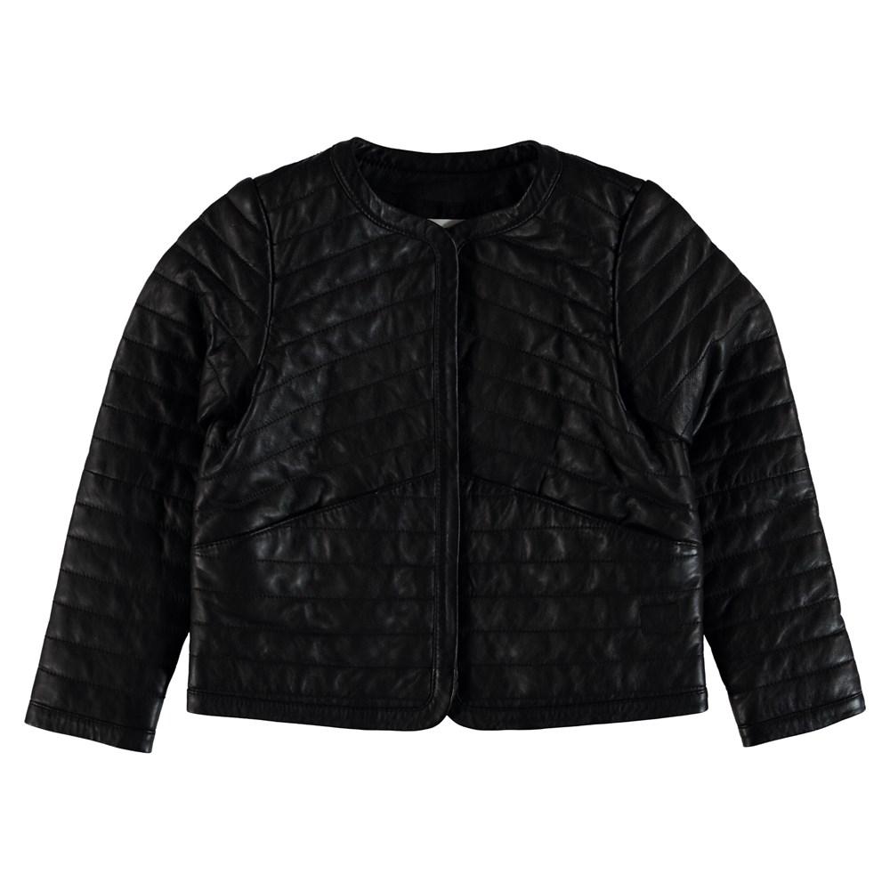 Hettie - Black - Quiltet læderjakke.