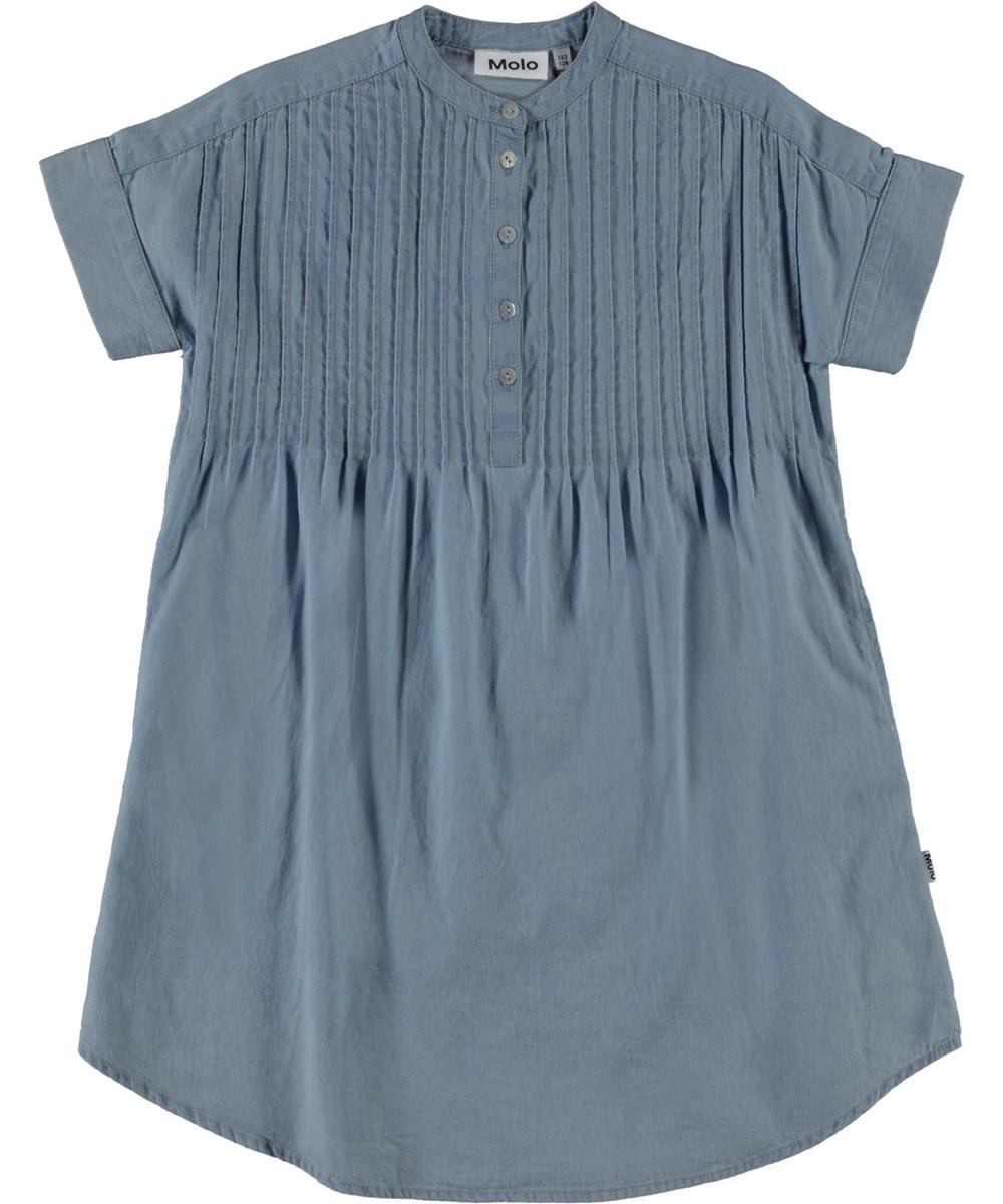 Caitlyn - Summer Wash Indigo - Blå denim skjortekjole med pliseringer
