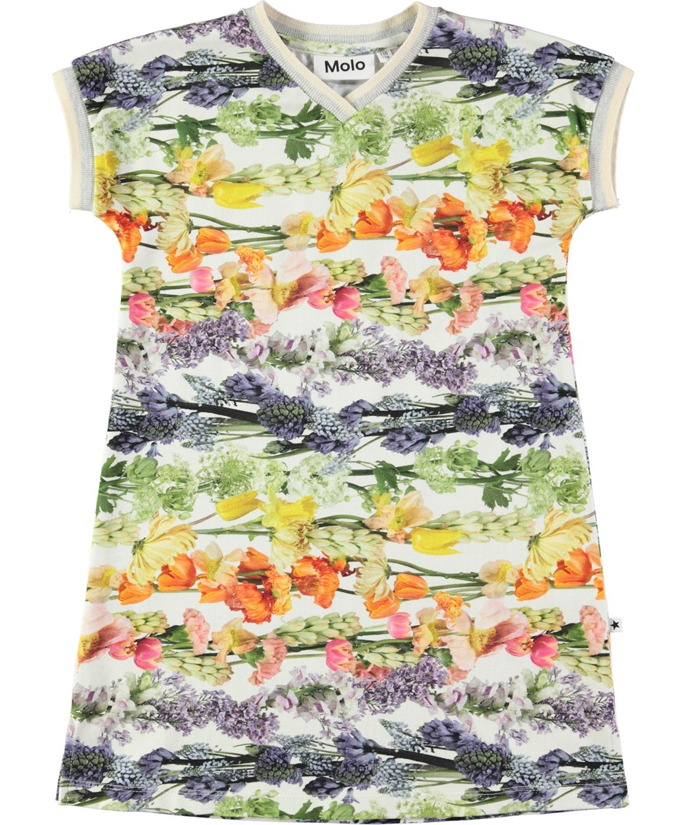 California - Rainbow Bloom - A-formet, sporty kjole med digitalprintede blomster