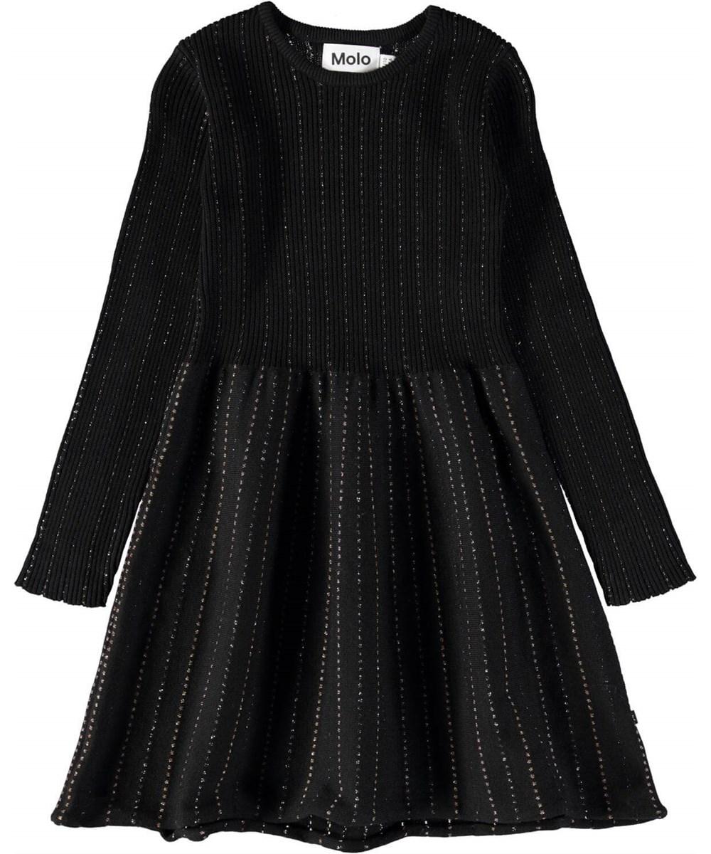 Cameron - Black - Sort, strikket kjole med lange ærmer