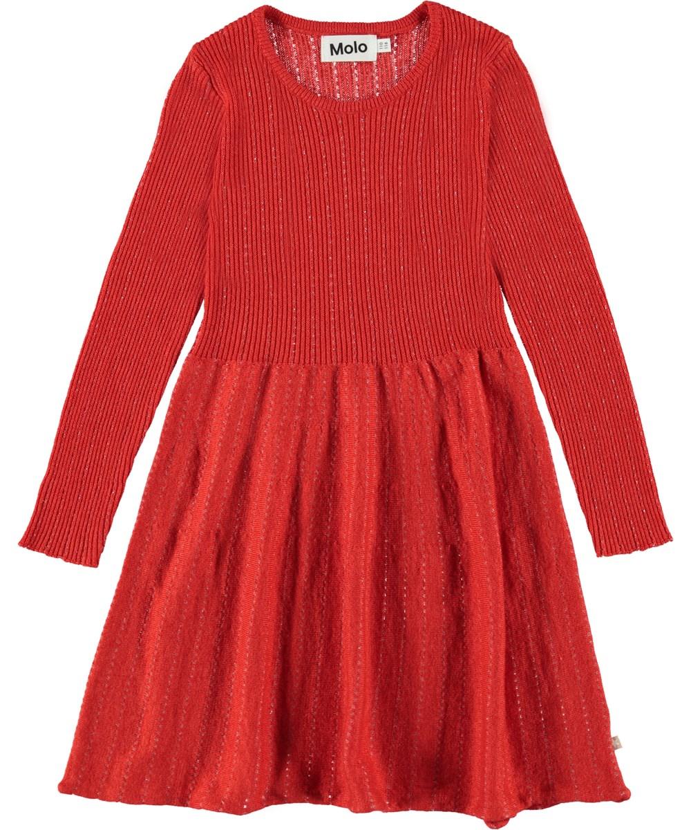 Cameron - Vermilion Red - Rød kjole med lange ærmer.