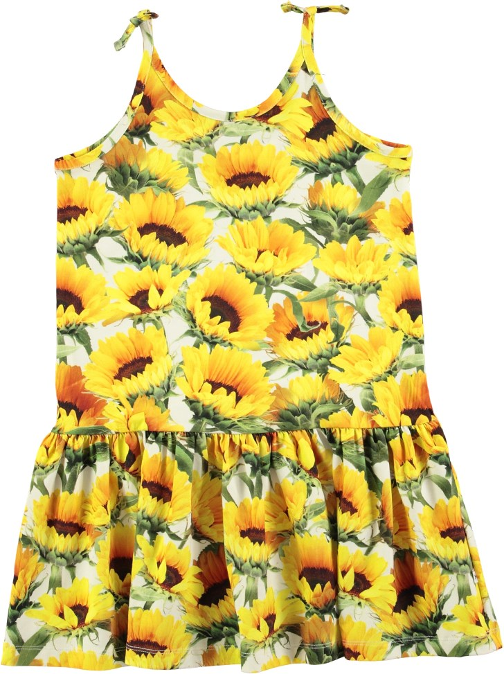 60f7091cc355 Camilla - Sunflower Fields - Sommerlig kjole med digitalprintede solsikker