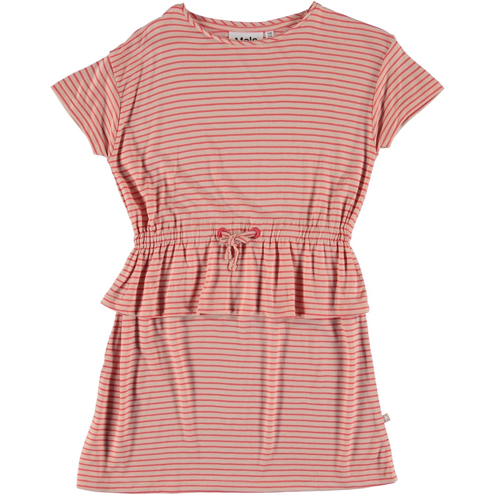 Camma - Hot Coral Stripe - Kjole