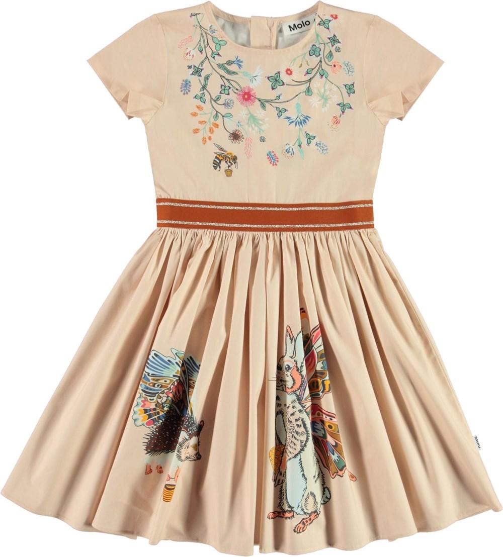 Candy - Hedge Animals - Økologisk lyserød kjole med kanin og pindsvin