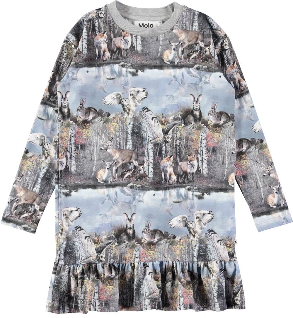 Caras - By The Forest Lake - Sød, oversize kjole med digitalprintede dyr