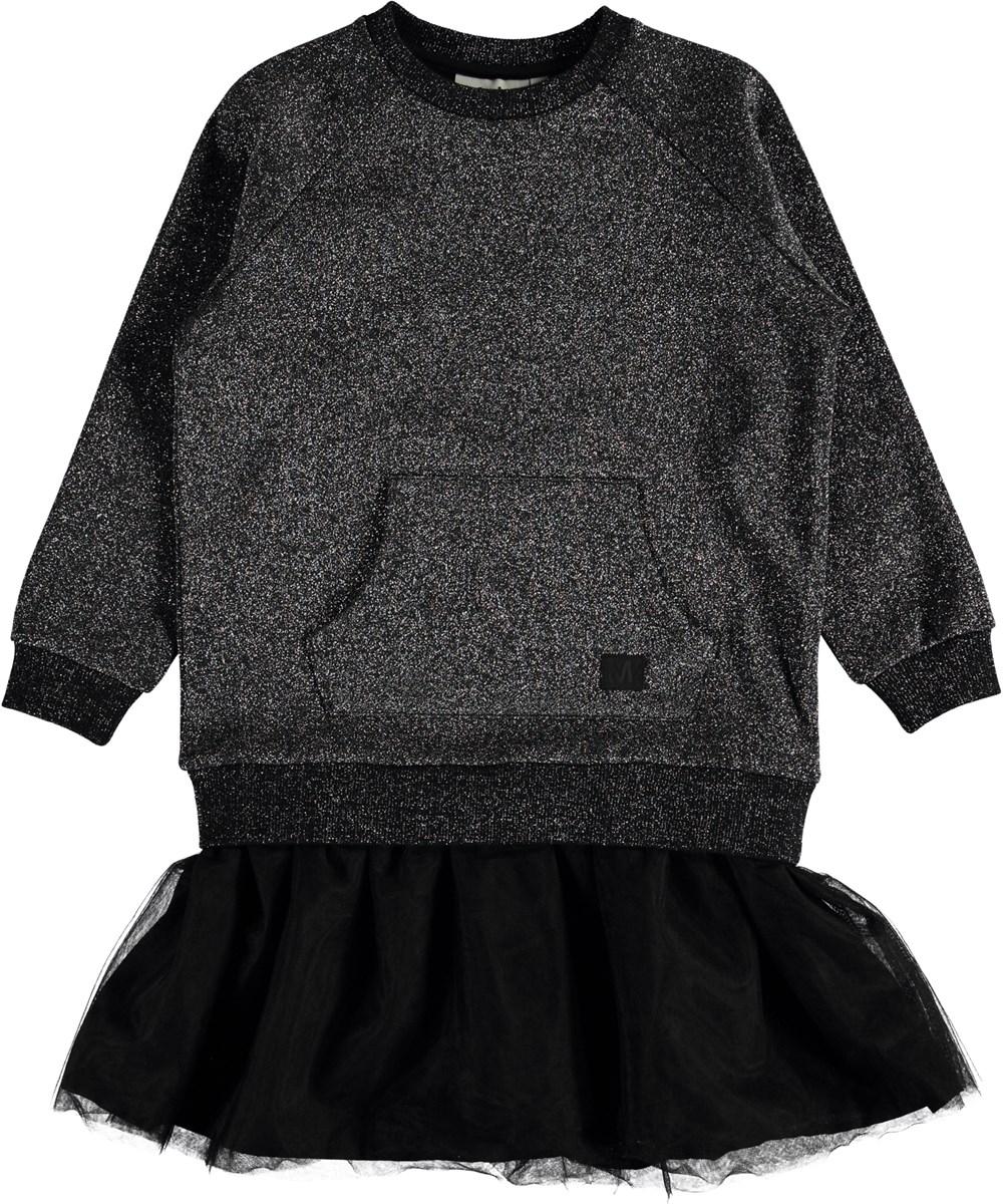 Carasala - Silver Black - Sweatshirt kjole med tyl.