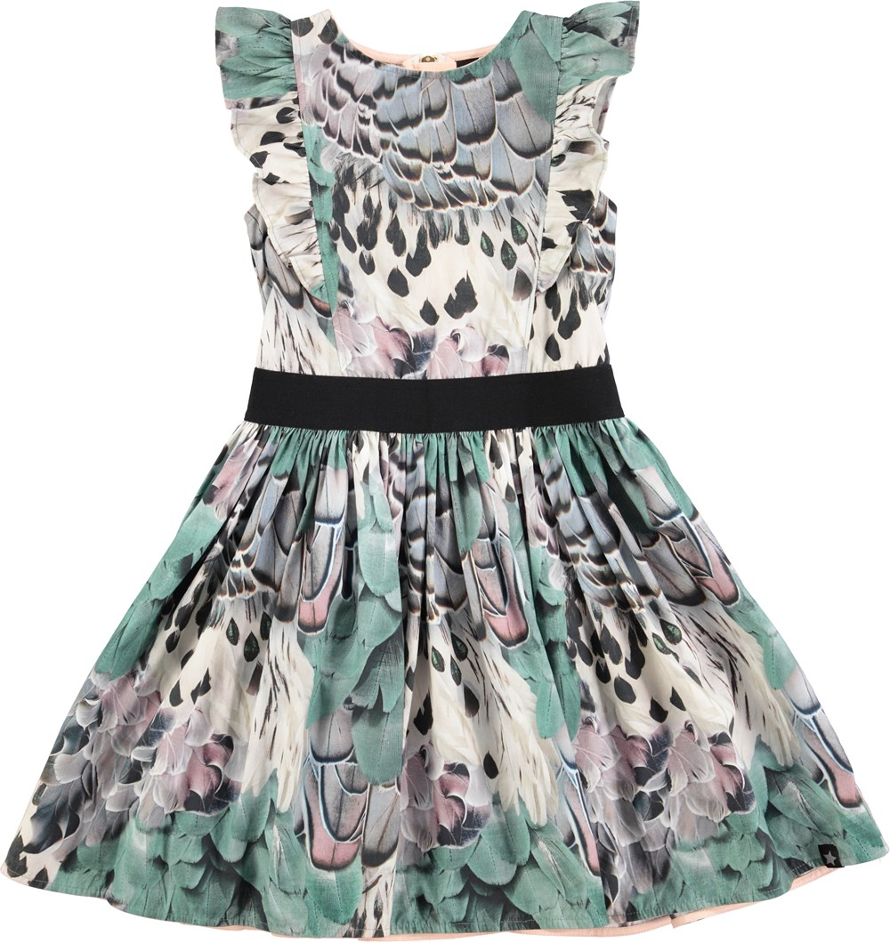Sidste nye Carey - Rooster Feathers - kjole med fjerprint og flæser - Molo JK-26