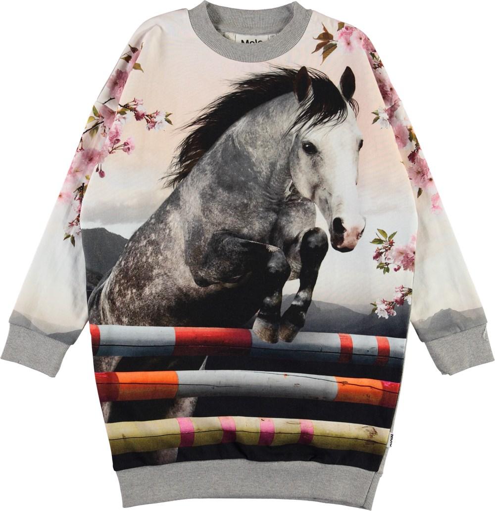 Carita - Jumping Horse - Økologisk sweatshirt kjole med hest