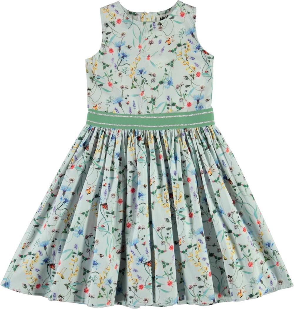 Carli - All Small Things - Økologisk lyseblå kjole med vilde blomster