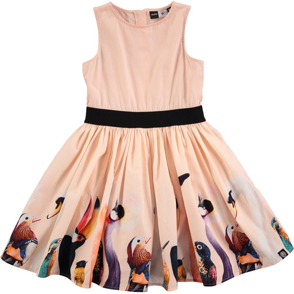 Carli - Poppies - ferskenfarvet kjole med fugleprint