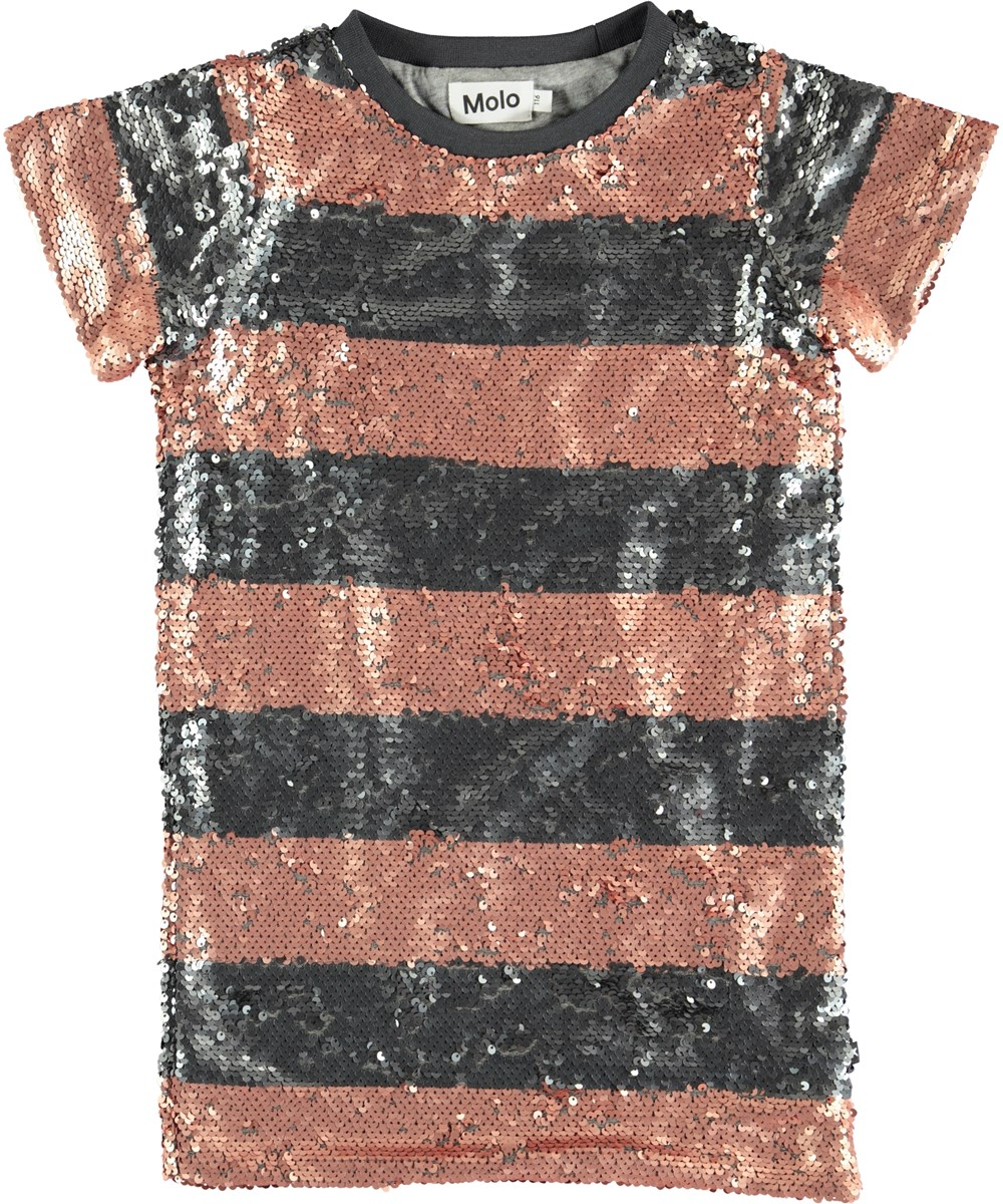 Carol - Silver Blush Stripe - Stribet kjole med pailletter
