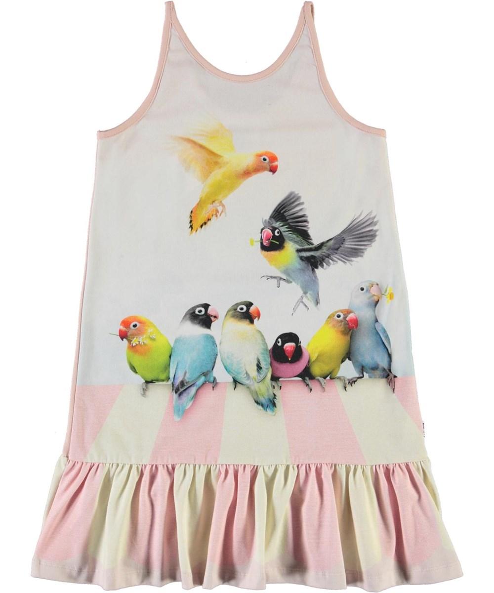 Carrie - Love Birds - Økologisk lyserød kjole med fugle