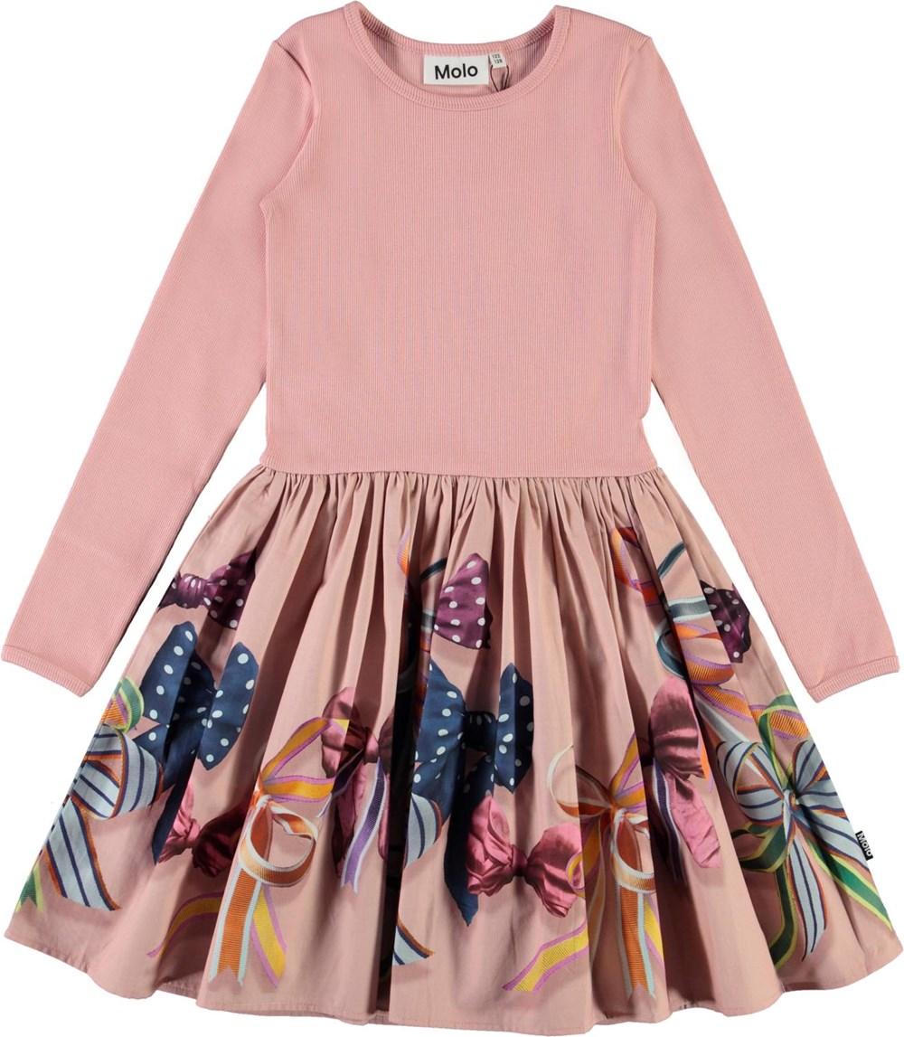 Casie - Festive Bows - Økologisk lyserød kjole med sløjfer