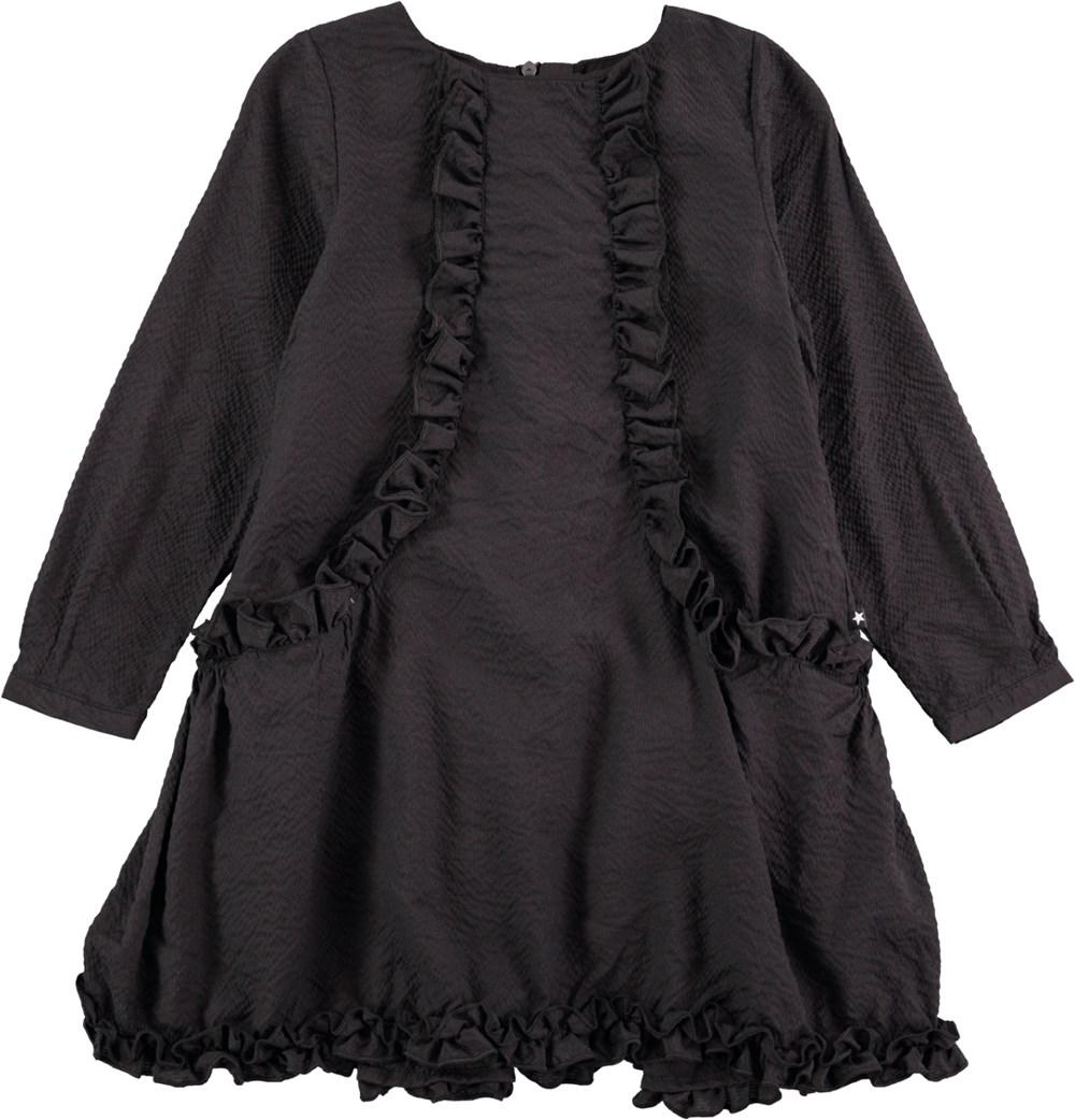 2b171f78871b Cathi - Black Bean - Langærmet sort kjole med flæser - Molo