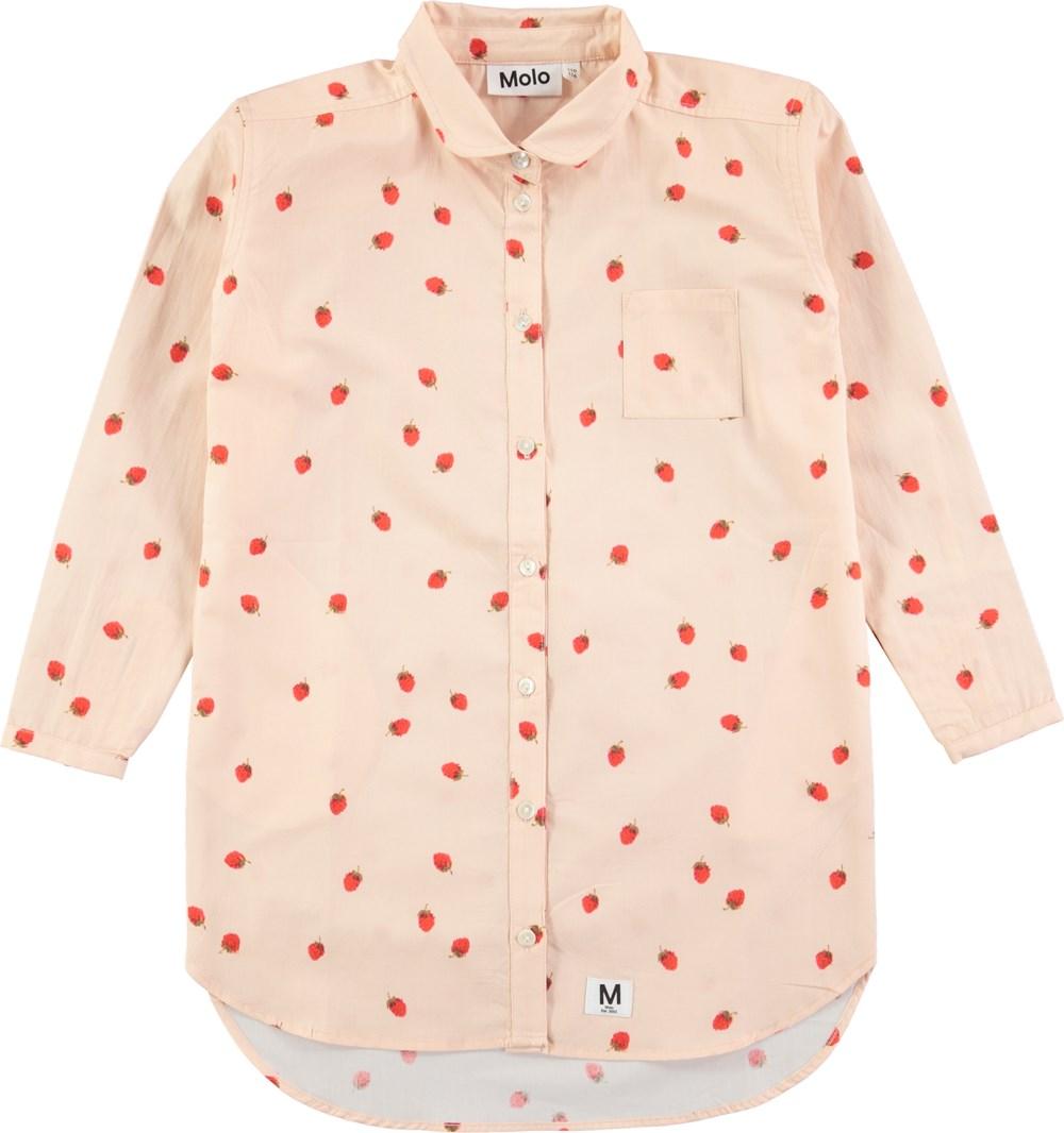 Cerena - Wild Strawberries - Langærmet lyserød skjortekjole med jordbærprint