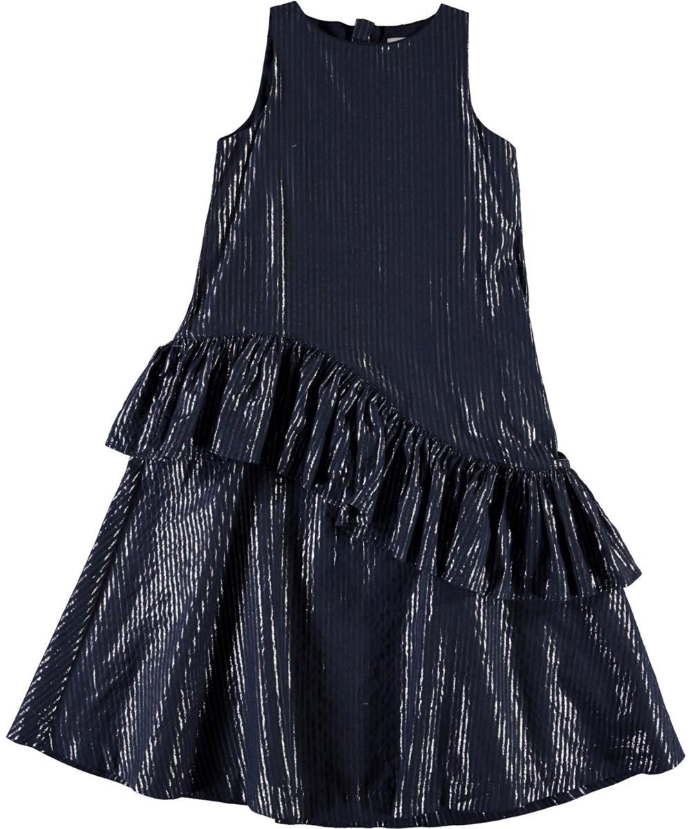 Chelsea - Total Eclipse - Mørkeblå kjole med flæse og sølv striber