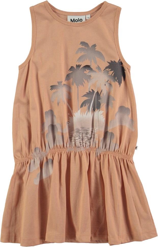 f953c42ddfd2 Cherice - Pink Sand - Kjole uden ærmer med palmeprint - Molo