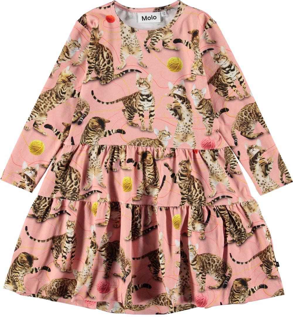 Chia - Wannabe Leopard - Lyserød kjole med katte.