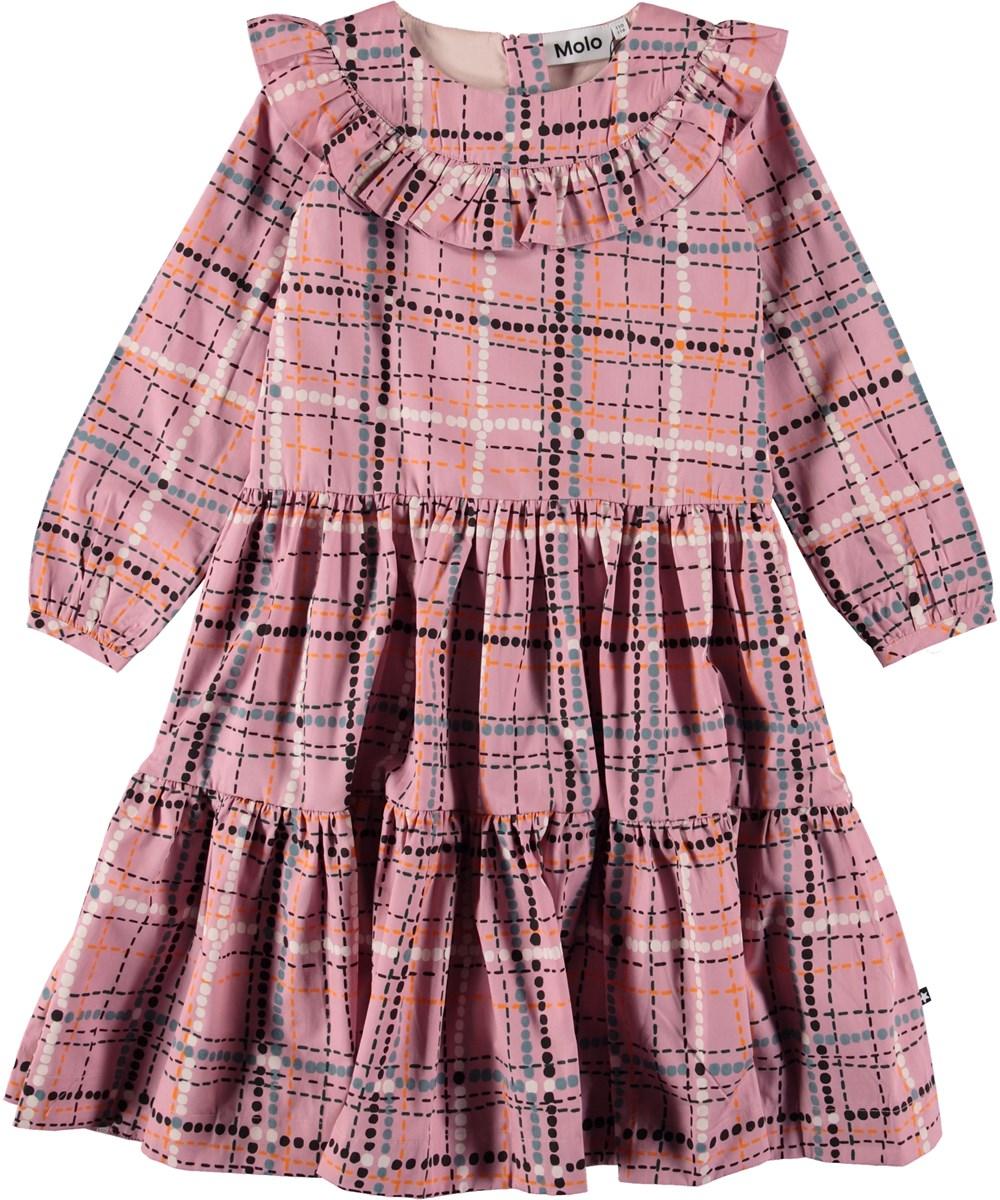 Chosy - Dot Check - Lyserød kjole med tern.