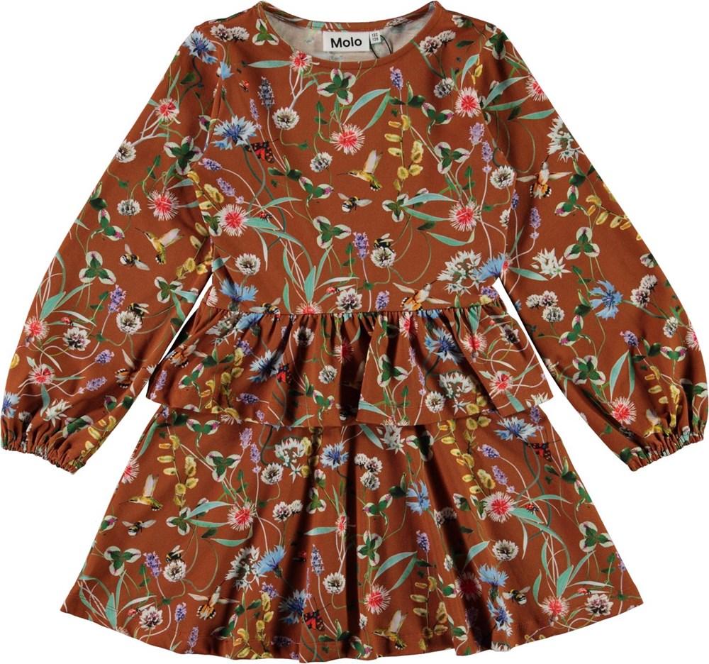 Christabelle - Wildflowers - Økologisk brun kjole med blomster og skørt