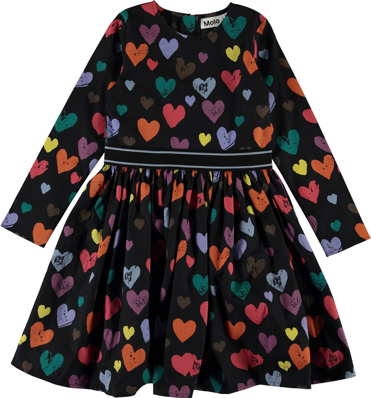 Christin - Love Forever - Sort kjole med farvede hjerter