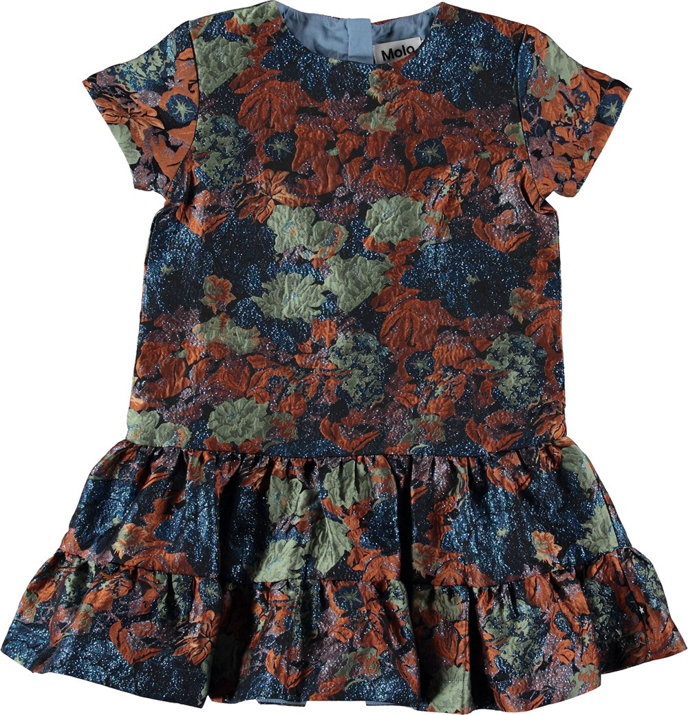 Cicely - Midnight Floral - Jaquard kjole med glimmer.