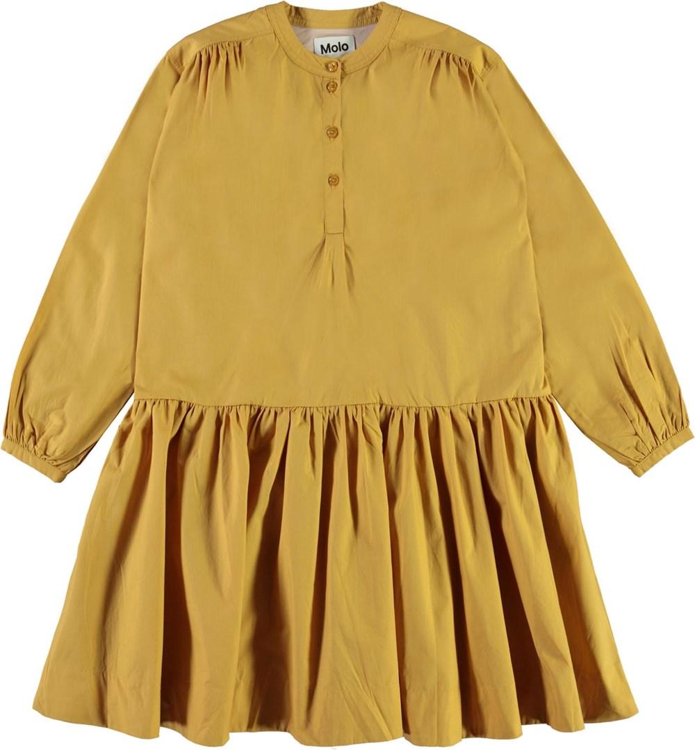 Cinzia - Honey - Økologisk gul poplin kjole