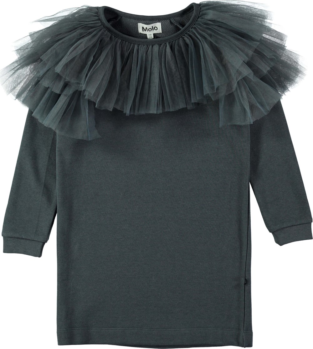 Ciss - Dove Grey - Mørkegrå sweatkjole med tylkrave