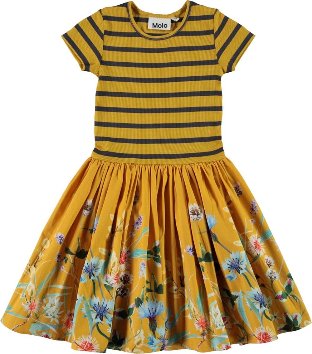 Cissa - Wildflower Love - Økologisk gul kjole med blomster print