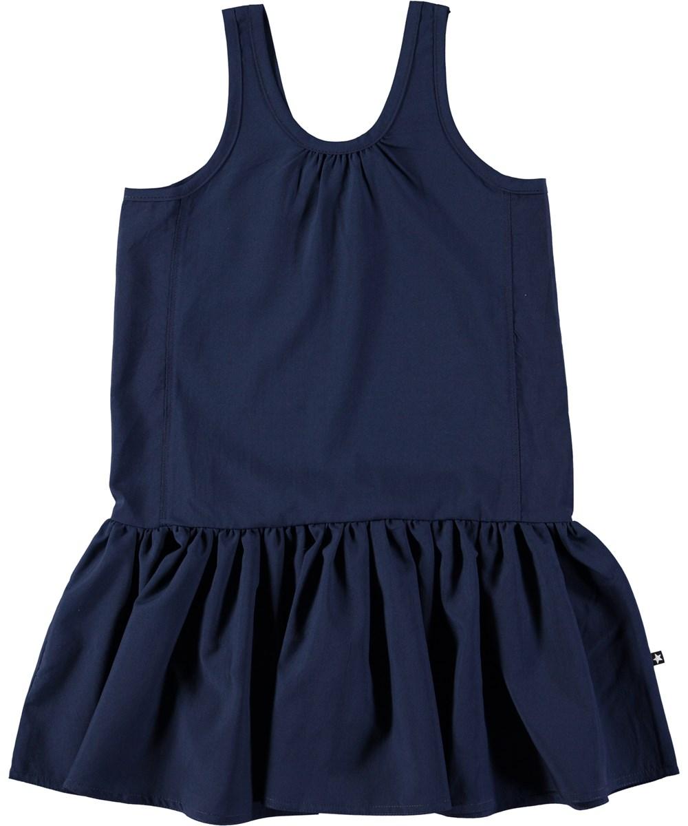 Clary - Classic Navy - Mørkeblå kjole uden ærmer med skørt